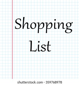 Checkered notebook sheet with text: Shopping List