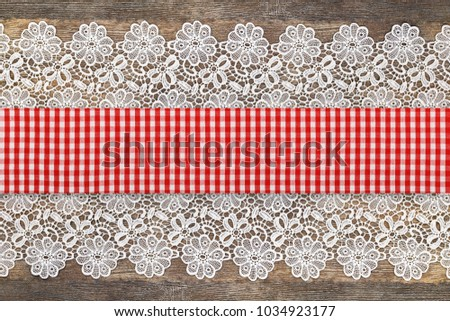 Checkered Red White Table Runner Openwork Stock Photo Edit Now