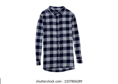 Checkered shirt isolate on white background, flat lay