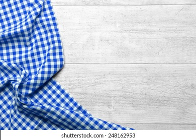 checkered tablecloth blue