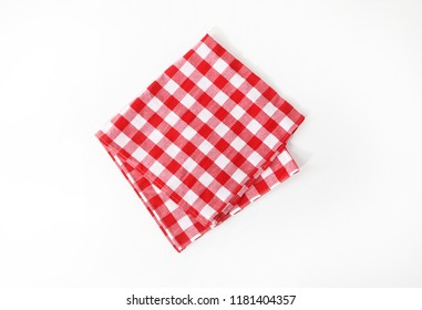 The checkered tablecloth. Decorative cotton napkin.