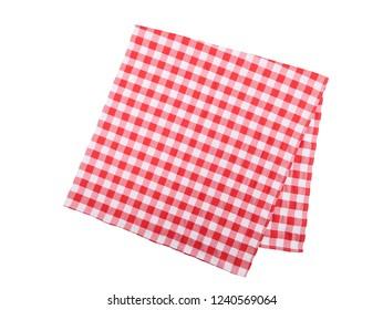 The checkered tablecloth. Decorative cotton napkin.