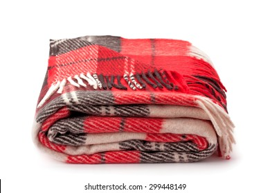 checkered warm blanket isolated on white background