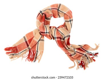 Checkered wool scarf on pure white background