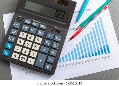 Checking accounting report on business table. Calculator