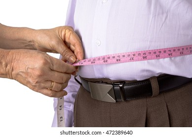 Checking body fat with measuring tape of abdomen with the help of other person.