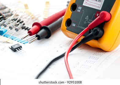 Checking Circuit by Multi-Meter. Electrical engineer on during checking circuit board unit