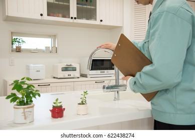 Checking the kitchen