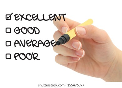Checking quality, Excellent, good, average or poor