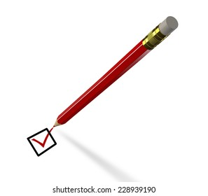 Checking - red pencil marks approval sign. 3D