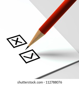 checklist or bulletin and a pencil