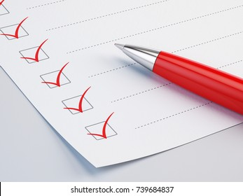 Checklist concept - checklist, paper and red pen. 3d illustration