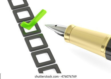 Checklist and fountain pen, 3D rendering