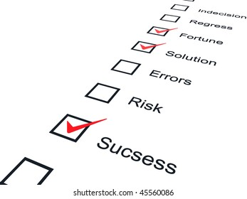Checklist with red marks isolated on white