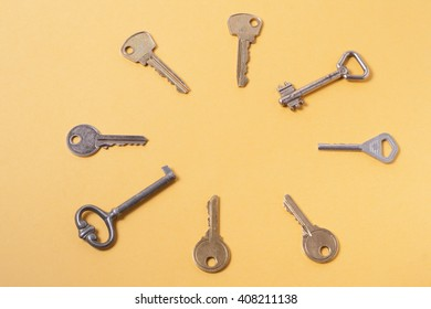 Check-lock and set od assorted different keys on yellow background