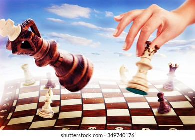 CHECKMATE - A game of chess ends with Checkmate - white wins - Godly scenery