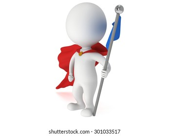 Checkpoint flag and proud winner superhero. 3d render isolated on white.
