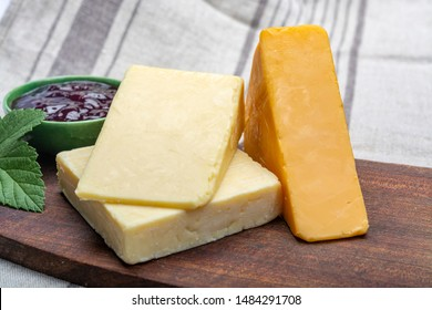 Cheddar cheese collection, variety of Cheddar cheese made from cow milk close up