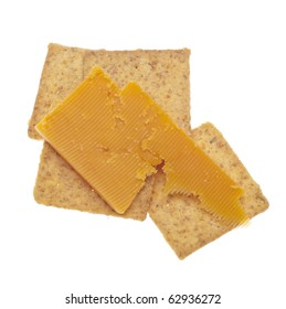 Cheddar Cheese and Crackers Isolated on White with a Clipping Path.
