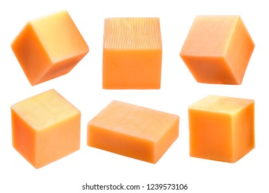 Cheddar cheese cubes, rectangular blocks or pieces isolated on white