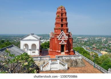 Chedi Daeng (red chedi) on top of the Phra Nakhon Khiri palace hill. Historical Park of Phetchaburi, Thailand