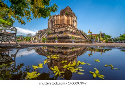 Chedi Luang Pagoda and reflection at Wat Chedi Luang Temple in Chiang mai, Thailand.  No restrict in copy or use.