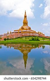 Chedi Maha Mongkol Bua, the golden pagoda landmark of Roi Et Province, northeastern Thailand