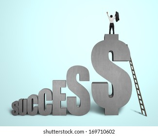"""Cheered businessman standing on top of """"SUCCESS"""" concrete 3D word in green background"""