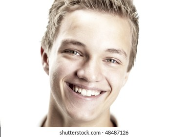 A Cheerful 16 year old boy on a white background