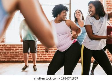 Cheerful active women in a dance class