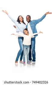 cheerful african american family with open arms smiling at camera isolated on white