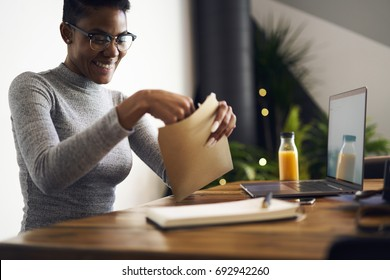 Cheerful afro american businesswoman in trendy eyewear feeling happy getting letter with documents for successful project,happy female freelancer satisfied with occupation receiving job offer paper