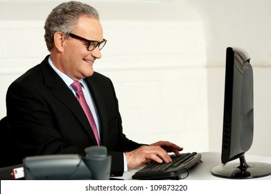 Cheerful aged man working on computer looking at lcd screen