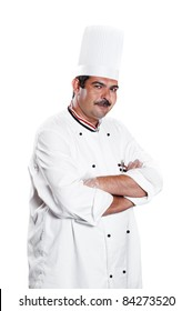 cheerful arab chef man in uniform isolated on white