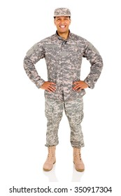 cheerful army soldier posing on white