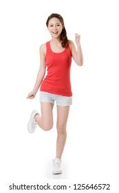 Cheerful Asian sport girl, full length portrait isolated on white background.