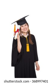 Cheerful Asian Student on her Graduation Day with a Diploma