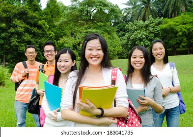 Cheerful asian students