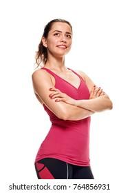 Cheerful athletic woman portrait