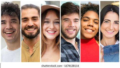 Cheerful attractive diverse people portrait set. Happy young mix raced men and women in casual multiple shot collage. Positive human emotions concept