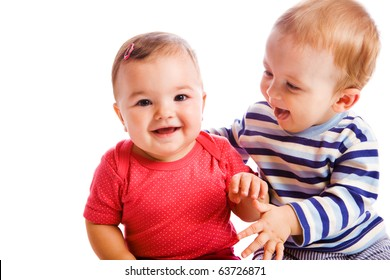 Cheerful babies playing