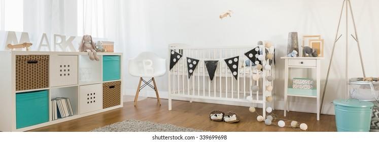 Cheerful baby boy room idea in spacious flat