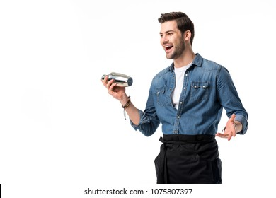 cheerful barman in apron with shaker in hand isolated on white