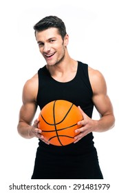 Cheerful basketball player standing with ball isolated on a white background