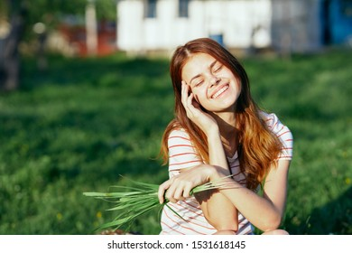 Cheerful beautiful woman charm farm smile joy of nature
