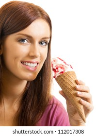 Cheerful beautiful woman eating ice cream, isolated over white background