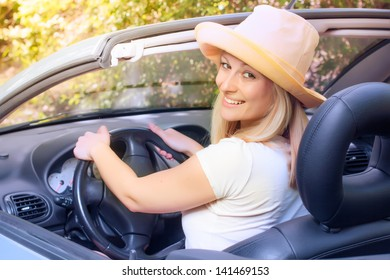Cheerful beautiful young woman in the car.