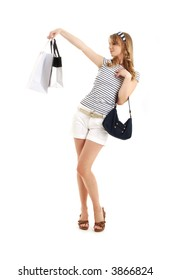 cheerful blond with shopping bags over white