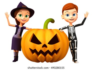 Cheerful boy in a skeleton costume and girl witch. 3d render illustration. Halloween icon isolated no background.