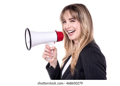 Cheerful business woman making an announcement
